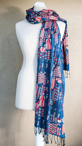 Art Deco – hand-woven and hand-embroidered scarf
