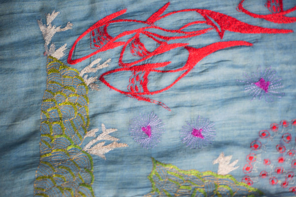 Koi fish and coral – hand-woven and hand-embroidered scarf