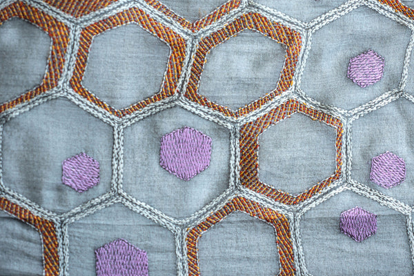 Orange honeycombs – hand-woven and hand-embroidered scarf