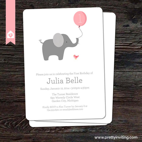 Little Elephant with Pink Balloon - Birthday Invitation - Printable