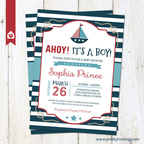 Ahoy! It's a Boy - Nautical Baby Shower Invitation, Sailor Invite, New Baby Boy - red blue - Printable