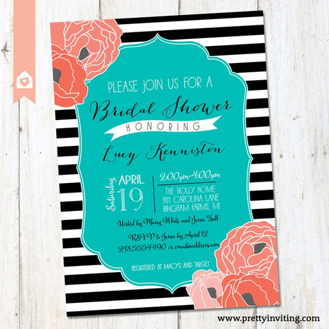 Bridal Shower Invitation - Modern Chic Black & White Stripe & Teal with Coral Floral