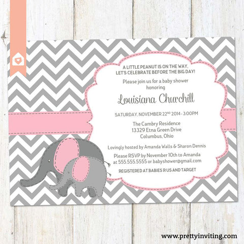 Baby Elephant Baby Shower Invitation - Chevron and Pink - Baby Girl or Twins Shower Invite- Printable