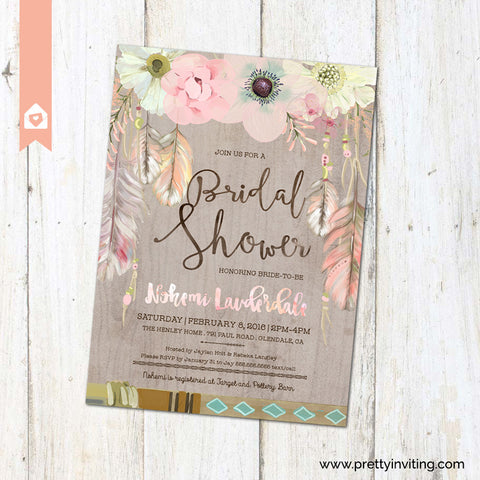 Boho Chic Bridal Shower Invitation - Rustic Floral Feathers in Watercolor on Woodgrain - Printable