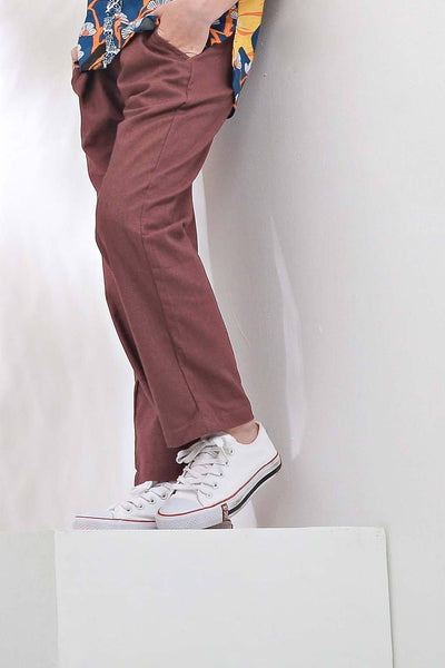 The Pulau Cotton Linen Pants - Mangosteen