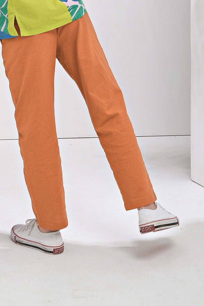 The Pulau Cotton Linen Pants - Almond Brown
