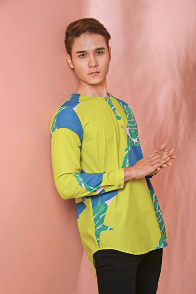 The Pulau Men Long Sleeve Batik Kurta - Semporna Print