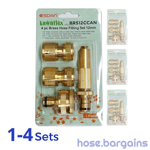 "4 Piece Brass Garden Hose Fitting Set 12mm (1/2"")"