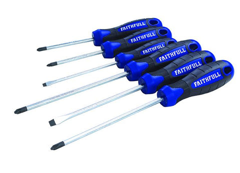 FAITHFULL 6 PIECE SOFT GRIP SCREWDRIVER SET