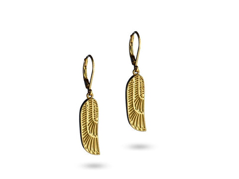 """Isis"", The Winged Goddess Earrings Yellow Gold"