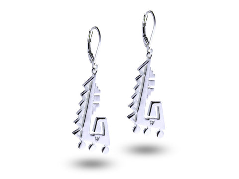 """Achcauhtli"" The Leader, Earrings in White Gold"