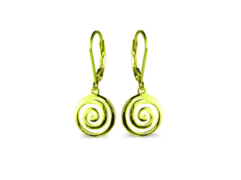 """Spiral"" The Circle of Life, Ear Danglers in Yellow Gold"