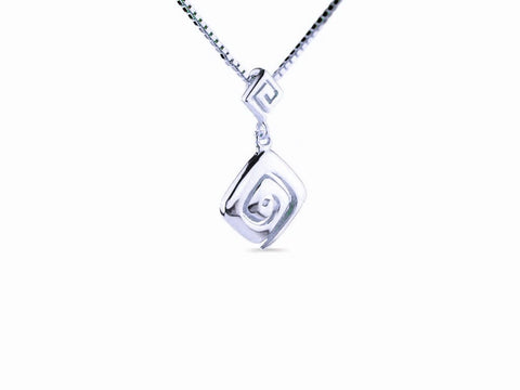 """Meandros"" Key- The Symbol of Eternity, Necklace in White Gold"