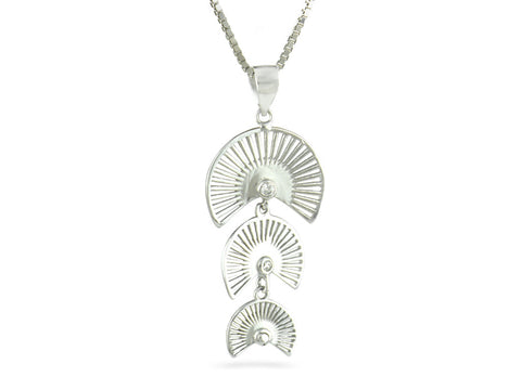 """Sensu"" The Fan, Necklace in White Gold"