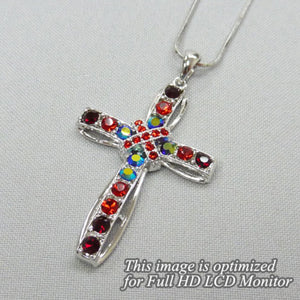 Bling Cross Necklace, Red