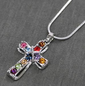 Bling Cross Necklace, Multicolor