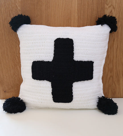 swiss cross cushion cover monochrome