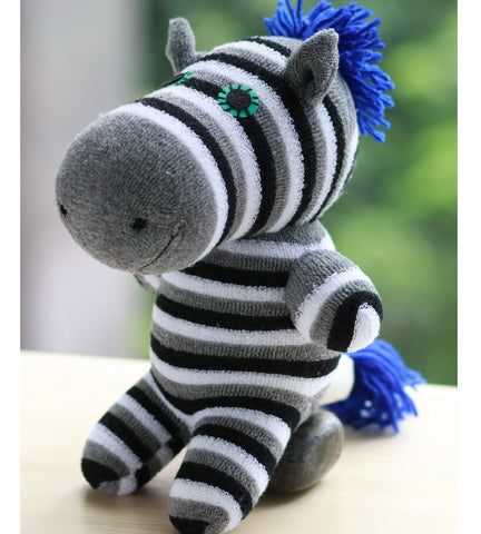 Zared the zebra sock animal monochrome with blue highlights