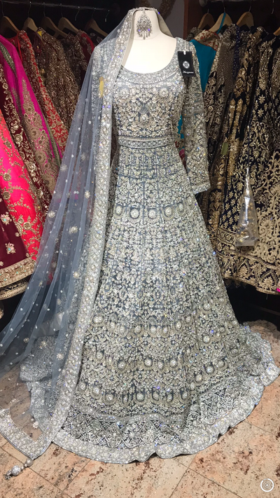 Grey Zardozi Embroidered Gown