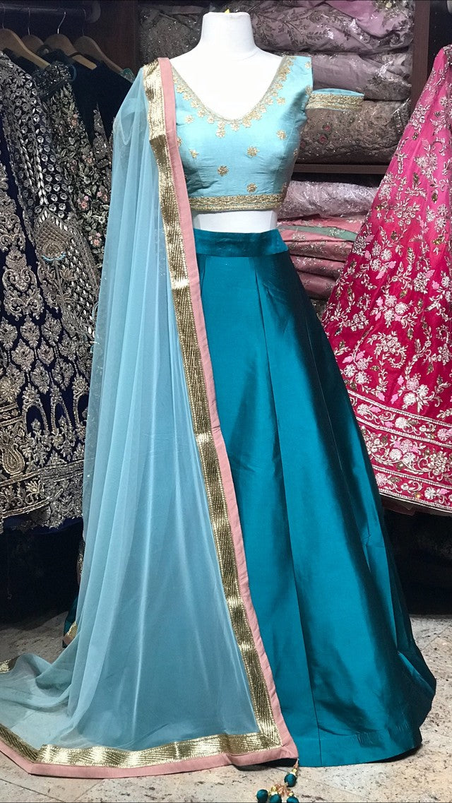 Sage and Teal Bridesmaid's Lehenga