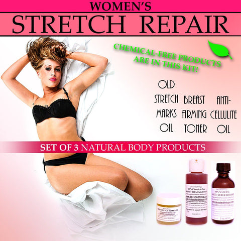Stretch Repair Kit - Womens Natural Stretch Repair Body Kit For Stretch Marks Sagging Breasts Cellulite Set Of 3