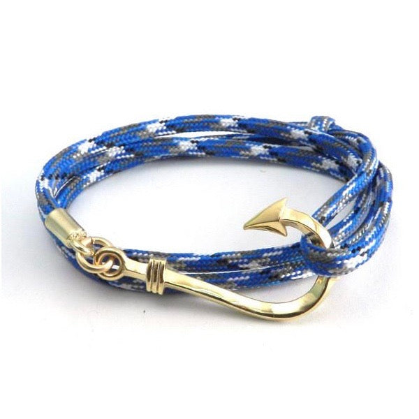 Amigaz Fish Hook Paracord Slider Gold Blue Camo Bracelet - Born Store