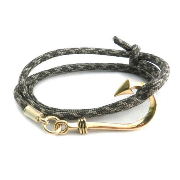 Amigaz Fish Hook Paracord Slider Gold Brown Camo Bracelet - Born Store