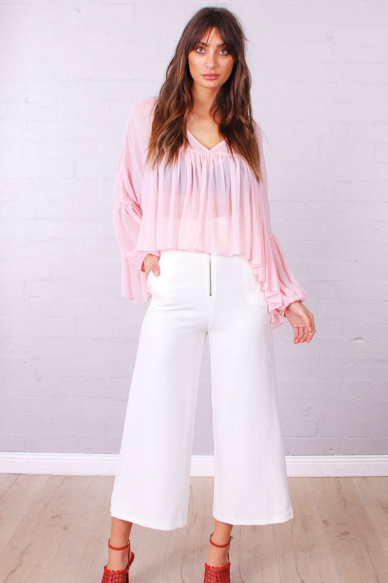 Valerie Zip Front Pants - White