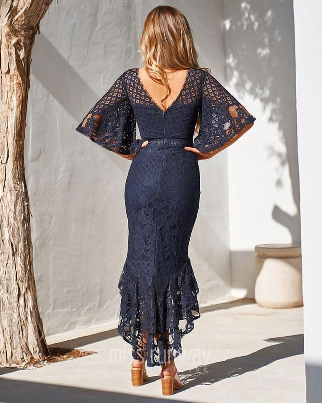 Reyna Lace Midi Dress - Navy [PRE-ORDER]