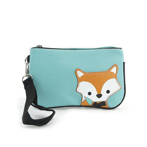 Peeking Baby Fox Wristlet in Blue
