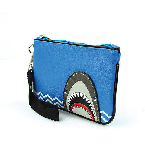 Shark Attack Wristlet Wallet in Blue