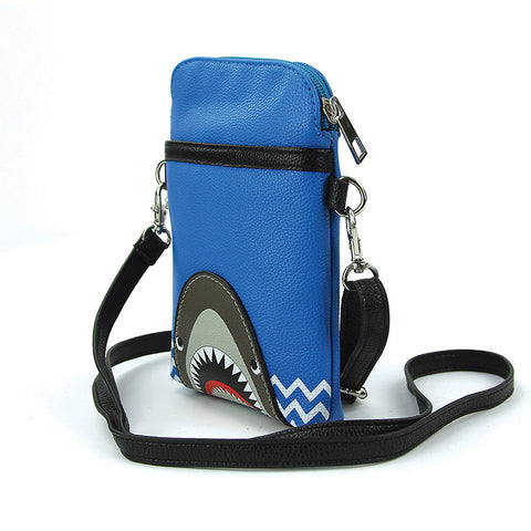 Shark Attack Crossbody Pouch in Blue