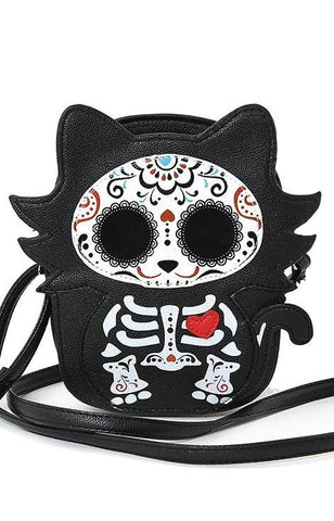 Tattooed Skeleton Cat Crossbody Bag