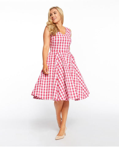 Fuchsia Gingham V-Neck Dress