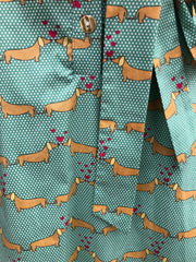 Shirtwaist Dress in Green Dachshund Print by Eva Rose