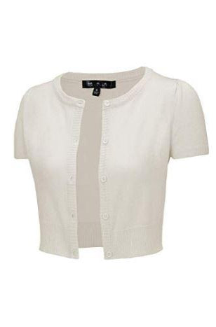 Short Sleeve Perfect Cropped Cardigan in Ivory by MAK