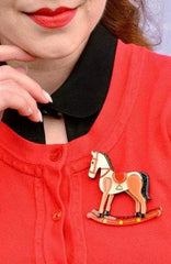Rocking Reminiscence Horse Brooch by Erstwilder
