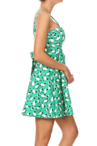 Teal Siamese Cat Tie-Back Mini Dress