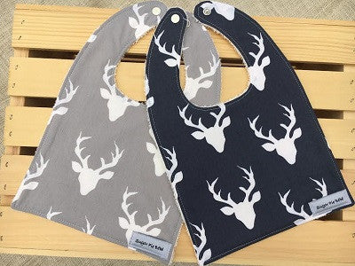 Deer in Navy Bib Set