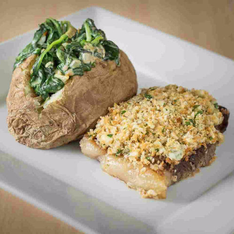 Blue Cheese Crusted Steak with Creamed Spinach & Baked Potatoes - Just-Add-Meat