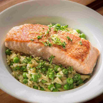 Seared Salmon Fillets with Lemon Orzo - Salmon Fillets Included