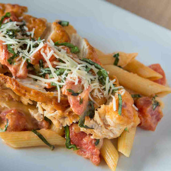 Tomato Basil Chicken With Parmesan Penne Pasta - Just-Add-Meat