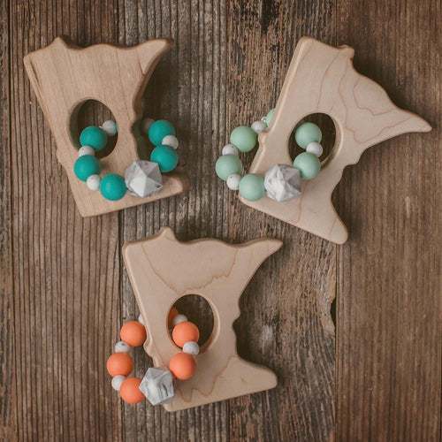 Minnesota Wood and Bead Teether - Sweetpea and Co.