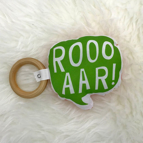 Plush and Wood Teether Toy - Roar - Sweetpea and Co.