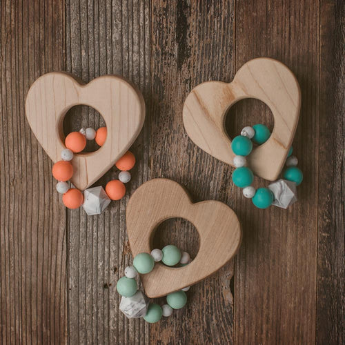 Heart Wood and Bead Teether - Sweetpea and Co.