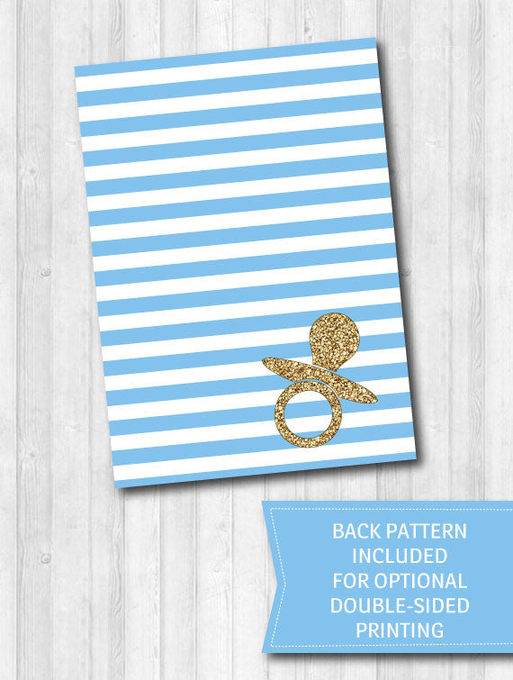 baby shower game activity pack baby blue stripes gold glitter 2
