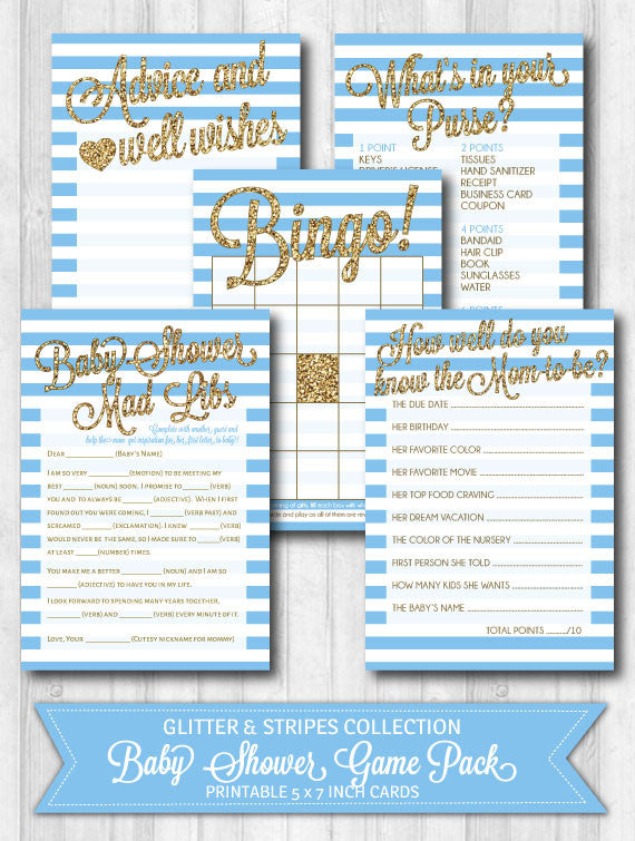 baby shower game activity pack baby blue stripes gold glitter