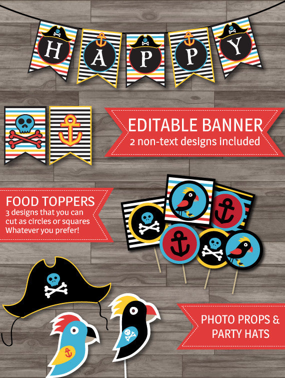 Pirate party banner toppers photo props printable decor pack