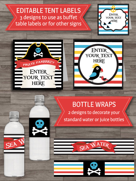 Pirate party printable decor buffet labels bottle wraps pack