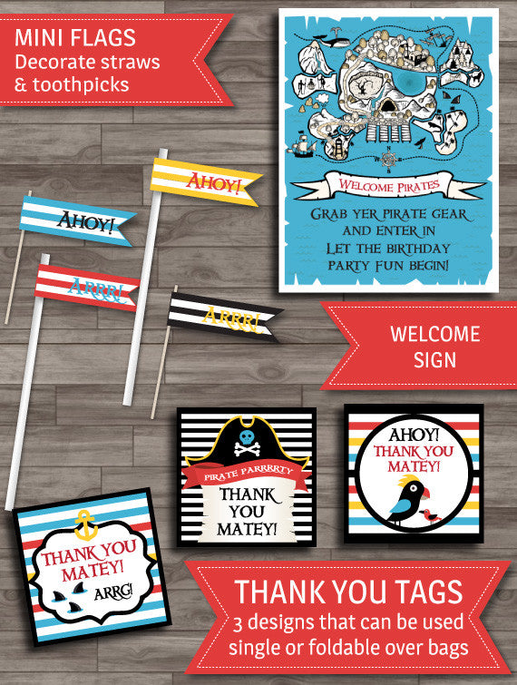 Pirate party welcome sign thank you labels printable decor pack